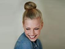 A beautiful young woman in casualwear - studio shot