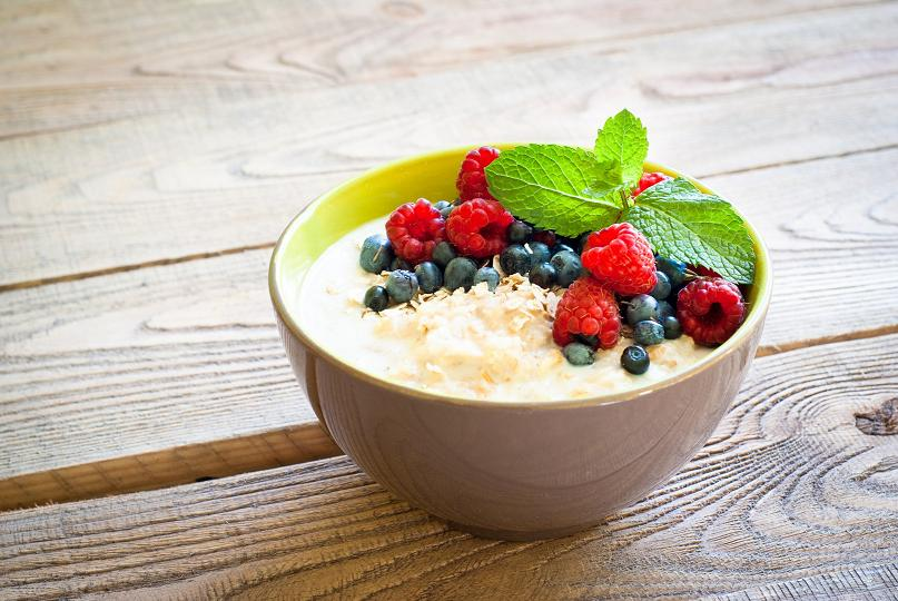 Healthy breakfast - oatmeal with fresh berries